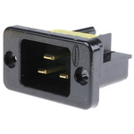 Hubbell C20 Panel Mount IEC Plug Male, 20A, 250 V