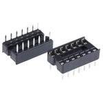 E-TEC 2.54mm Pitch Vertical 14 Way, Through Hole Stamped Pin Open Frame IC Dip Socket, 1A