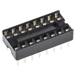 E-TEC 2.54mm Pitch Vertical 16 Way, Through Hole Stamped Pin Open Frame IC Dip Socket, 1A