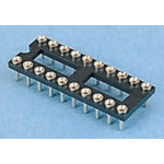E-TEC 2.54mm Pitch Vertical 20 Way, Through Hole Turned Pin Open Frame IC Dip Socket, 1A