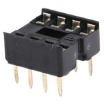 E-TEC 2.54mm Pitch Vertical 8 Way, Through Hole Stamped Pin Open Frame IC Dip Socket, 1A
