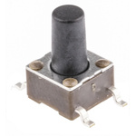 Black Button Tactile Switch, Single Pole Single Throw (SPST) 50 mA @ 24 V dc 5.9mm