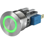 Push Button Touch Switch, Momentary ,Illuminated, Green, IP40, IP67 Ag