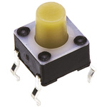 White Button Tactile Switch, Single Pole Single Throw (SPST) 50 mA @ 24 V dc 3.7mm