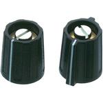 OKW Potentiometer Knob, Collet Type, Black, 4mm Shaft