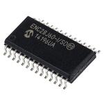 Microchip ENC28J60-I/SO, Ethernet Controller, 10Mbps SPI, Serial-SPI, 3.3 V, 28-Pin SOIC