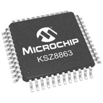 Microchip KSZ8863MLLI, Ethernet Switch IC, 10Mbps, 1.8 V, 3.3 V, 48-Pin LQFP