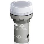 ABB, Panel Mount White LED Pilot Light, 22mm Cutout, IP66, IP67, IP69K, Round, 24 V ac/dc