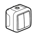 10 A Surface Mount Light Switch, 2 Way, 2 Gang, 250 V ac IP55, Plexo