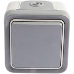 Grey 10 A Surface Mount Push Button Light Switch, 250 V ac IP55, Plexo