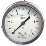 Bourdon Back Entry Pressure Gauge 10bar, MIT3F22B22