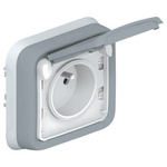 Legrand Grey 1 Gang Plug Socket, 16A, Type E - French