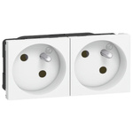 Legrand White 2 Gang Plug Socket, 16A, Type E - French