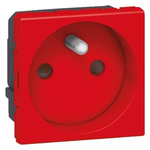 Legrand Red 1 Gang Plug Socket, 16A, Type E - French