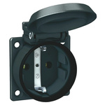 ABL Sursum Black 1 Gang Plug Socket, 16A, Type F - German Schuko
