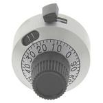 Vishay Potentiometer Knob, Dial Type, 22.2mm Knob Diameter, Silver, 6mm Shaft