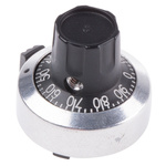 Atoms Potentiometer Knob, Dial Type, 24mm Knob Diameter, Chrome, 6mm Shaft