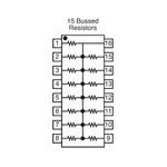 Bourns Bussed Resistor Network 1kΩ ±2% 15 Resistors, 2.25W Total, DIP package 4100R Through Hole