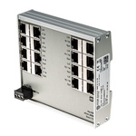 Harting Unmanaged Ethernet Switch, 16 RJ45 port, 24/48V dc, 10/100Mbit/s Transmission Speed, DIN Rail Mount, 16 Port