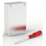 RS PRO 304 Stainless Steel Satin Adaptable Enclosure Box, 0 Knockouts 100mm x 100 mm x 50mm