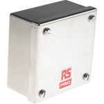 RS PRO 304 Stainless Steel Satin Adaptable Enclosure Box, 0 Knockouts 104mm x 104 mm x 50mm