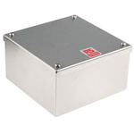 RS PRO 304 Stainless Steel Satin Adaptable Enclosure Box, 0 Knockouts 160mm x 160 mm x 85mm