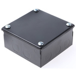 RS PRO Steel Black Enamel Adaptable Box, 5 Knockouts 100mm x 100 mm x 50mm