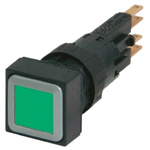 Eaton, RMQ16 Non-illuminated Green Square, 16mm Maintained Push In