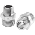 Legris LF3000 20 bar Brass Pneumatic Straight Threaded Adapter, R 1/2 Male To R 3/4 Male