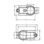 Rose+Krieger Round Tube Cross Clamp, strut profile 14 mm,