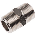 Legris LF3000 20 bar Brass Pneumatic Straight Threaded Adapter, R 3/8 Male To R 3/8 Male