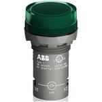 ABB, Panel Mount Green LED Pilot Light, 22mm Cutout, IP66, IP67, IP69K, Round, 24 V ac/dc