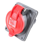 Red 3P+E panel/surface mount socket,16A