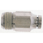 Norgren Threaded-to-Tube Pneumatic Fitting, R 1/4 to, Push In 4 mm, PNEUFIT Series, 18 bar