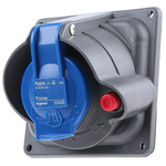 Legrand, HYPRA IP44, IP45 Blue Panel Mount 2P+E Right Angle Industrial Power Socket, Rated At 16.0A, 230.0 V