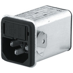 Male C14 IEC Filter Snap-In,Solder,Rated At 4A,250 V ac