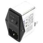 Deltron,6A,250 V ac/dc Male Panel Mount IEC Filter 2 Pole RIP0642H2,Tab