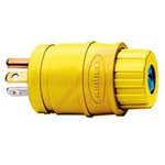 Plug; 20 A; 125 V; Straight; Yellow; 0.300 to 0.655 in.; PVC; Polycarbonate
