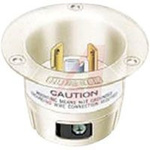 Flanged Inlet; 20 A; 125 VAC; L5-20P; White; Brass; Steel-Nickel Plated; Brass