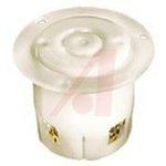 Receptacle, Flanged; 20 A; 480 VAC; L16-20R; White; Steel-Nickel Plated; Brass