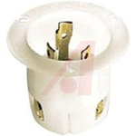 Flanged Inlet; 30 A; 125 VAC; L5-30P; White; Brass; Steel-Nickel Plated; Brass