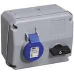 ABB Right Angle Switchable IP44 Industrial Interlock Socket 2P+E, Earthing Position 6h, 16A, 250 V