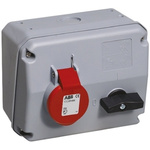 ABB Right Angle Switchable IP44 Industrial Interlock Socket 3PN+E, Earthing Position 6h, 32A, 415 V
