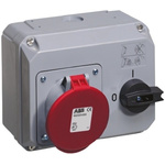 ABB Right Angle Switchable IP44 Industrial Interlock Socket 3PN+E, Earthing Position 6h, 63A, 415 V