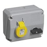ABB Horizontal Switchable IP44 Industrial Interlock Socket 2P+E, 16A, 100 → 130 V