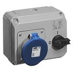 ABB Horizontal Switchable IP44 Industrial Interlock Socket 2P+E, 32A, 200 → 250 V