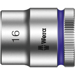 Wera 16mm Hex Socket With 3/8 in Drive , Length 30 mm