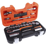 Bahco S-330 34 Piece Socket Set, 1/4 in, 3/8 in Square Drive