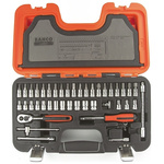 Bahco S-460 46 Piece Socket Set, 1/4 in Square Drive