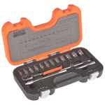 Bahco S-160 16 Piece Socket Set, 1/4 in Square Drive